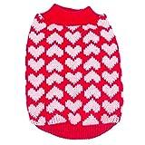 PanDaDa Puppy Dog Little Heart Pattern Knit Sweater Coat Jumper Jacket (XXS(Tag:XS), Red)
