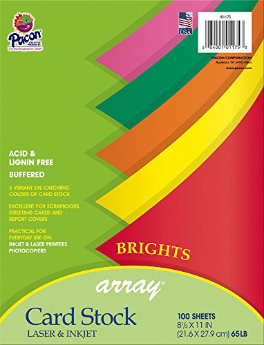 Bright Assortment - Pacon Card Stock, Bright Assortment, 5 Colors,  8-1/2