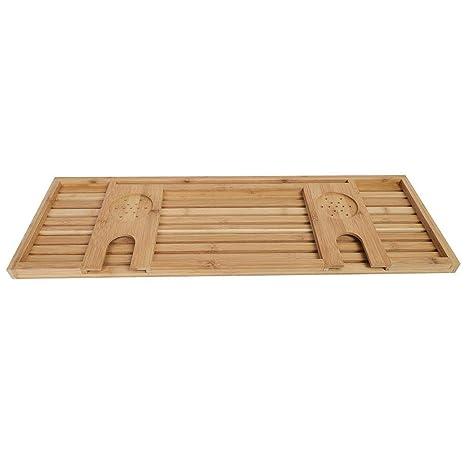 Bandeja de Bañera de Bambú Mesa de Baño Organizador de Baño ...