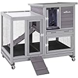 Upgrade Rabbit Hutch Rabbit Cage Indoor Bunny Hutch with Run Outdoor Rabbit House with Two Deeper No Leak Trays - 4 Casters I