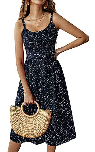 - Womens Dresses Summer Beach Polka Dot Midi Sundresses Boho Dress Spaghetti Strap Button Down with Pockets Navy Blue X-Large