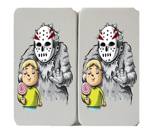 Hockey Mask Killer & Small Child w/ Lolipop - White Taiga Hinge Wallet (Hockey Mask Killer)