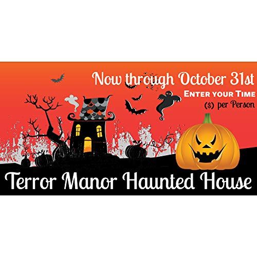 BannerBuzz Halloween Terror Manor Haunted House 11 Oz Vinyl PVC Flex Banner Decoration for Indoor/Outdoor, Home, Door, Party, Yard, Office with Hemmed Edges & Metal Grommets Free (5' X 2') for $<!--$24.99-->