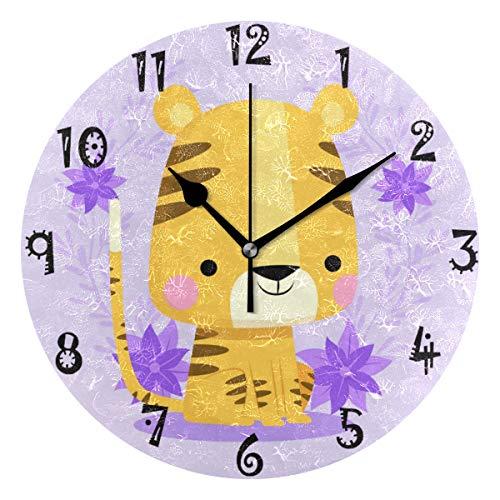 FVFV Art Cartoon Daisy Tiger Circular Wall Clock Round Plate Silent Non Ticking Clock for Kitchen Bedroom Home Office School Kid Boys Girls Clocks Decor