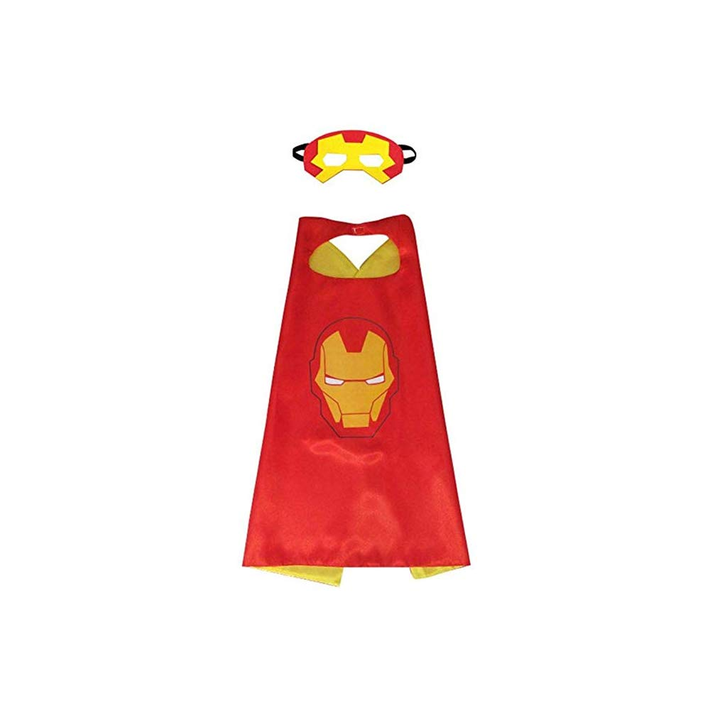 Halloween Mask and Cape  Iron Man Dress Up Costume Accessories for Halloween Party Cosplay for Boys Girls  Red
