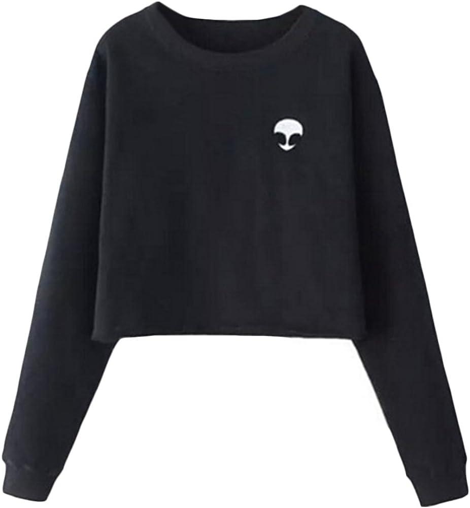 Women Crop Top Sweatshirt Long Sleeve Printed Cropped Pullover Jumper Sweater Short Plain Blouse Sweat Tops
