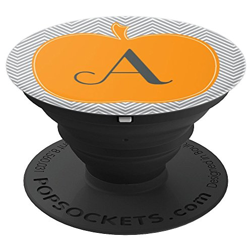 Cute Pumpkin Chevron Halloween Design Initial A Monogram - PopSockets Grip and Stand for Phones and Tablets