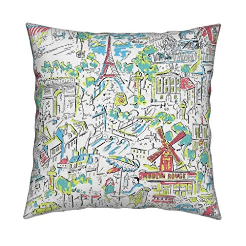 Paris 1950S Novelty Eco Canvas Throw Pillow Eiffel Tower Cafe Moulin Rouge City Scape French Vintage Retro by Hollycejeffriess Cover and Insert Included