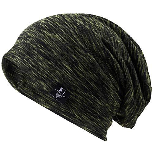 VECRY Men Slouch Hollow Beanie Thin Summer Cap Skullcap (Multi-Green)