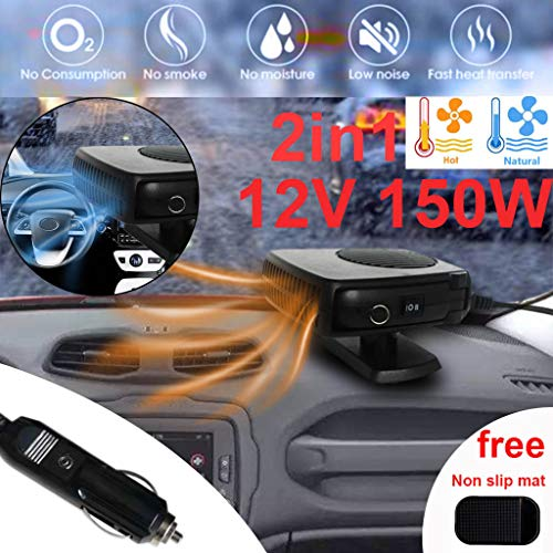 Onefa 12V Car Heater-Portable 2 in 1 Three Outlet Winter Windshiled Windscreen Window Defogger Defroster Demister Auto Heating Warm Cool Fan (Black)