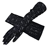 Soft Breathable Cotton Long Gloves Spring Autumn Sun Protection Outdoor Cycling Driving Arm Cover Sleeves Gloves for Women Ladies Black