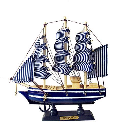 (Queenbox Wooden Sailing Ship Model, Vintage Handmade Wood Sailboat Model Nautical Decor 8