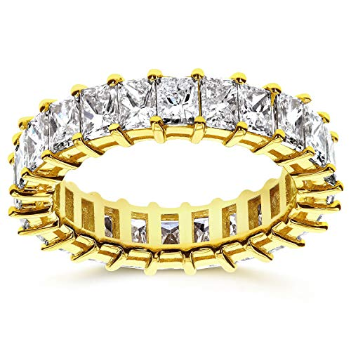 Princess Baguette Diamond Eternity Band 3 7/8 CTW in 14K Yellow Gold, Size 4.5 (Princess And Baguette Cut Diamond Eternity Ring)