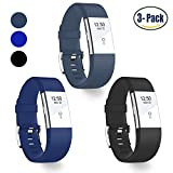 (US) Hotodeal Replacement Bands for Fitbit Charge 2, Classic Fitness Silicone Wrist Band Accessory, Colorful Band Design with Adjustable Metal Clasp for 2016 Fitbit Charge 2 HR (Black+Slate+Blue)