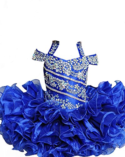 [ChengCheng Baby Girls Crystal Birthday Party Suits Pageant Dress 1 Blue] (Pageant Suits)