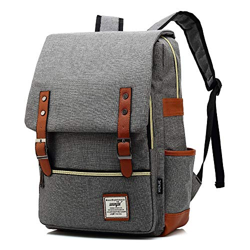 HITOP College Backpack, Vintage Fashion Laptop Travel Bag for Women Men Fits 15.6 Inch Laptop and Notebook (Gray)
