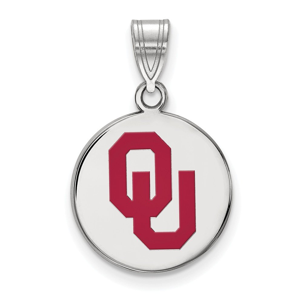 Solid 925 Sterling Silver University of Oklahoma Medium Enamel Disc Pendant