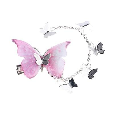 B Baosity Pinza de Pelo de Mariposa Cierre de Langosta con Borla Desmontable Regalo de Cumpleaños para Niñas - Rosado: Hogar