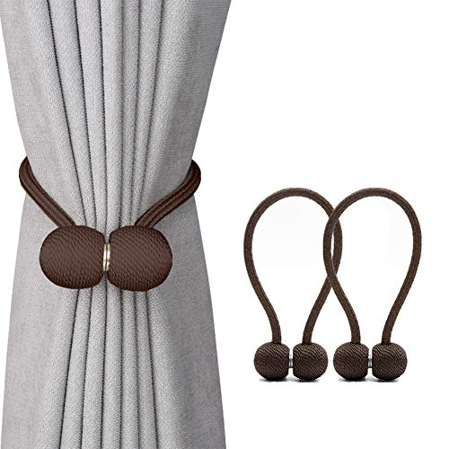 DEZENE Magnetic Curtain Tiebacks,The Most Convenient Drape Tie Backs,2 Pack Decorative Rope Holdback Holder for Big,Wide or Thick Window Drapries,16 Inch Long,Chocolate