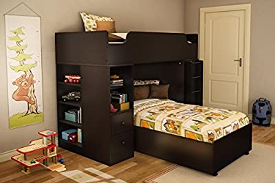 ioneyes shore logik collection twin 39-inch loft bed kit, chocolate