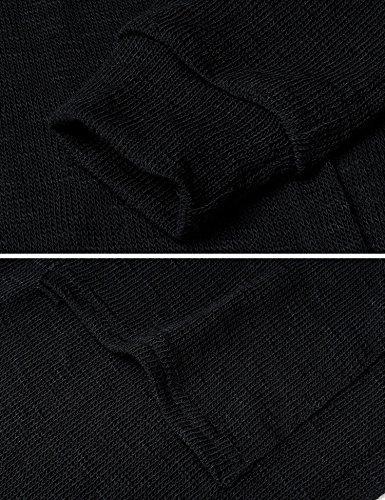 Punto Manga Altura Mujer Meaneor de Cadera Rebeca Casual Suelta Negro Suéter Largo xwvYYRqH