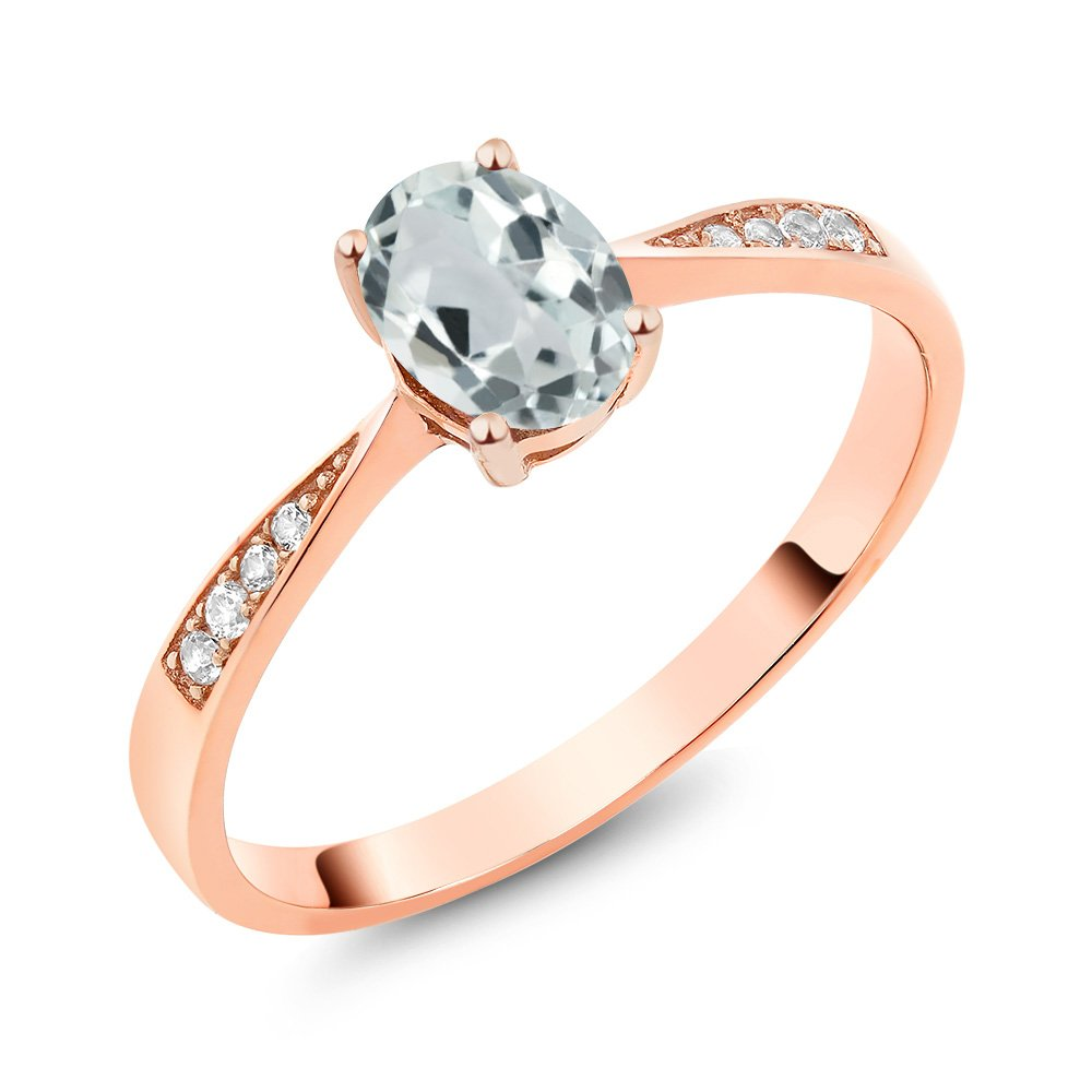 10K Rose Gold Diamond Ring with 0.78 Ct Oval Sky Blue Aquamarine (Ring Size 7)