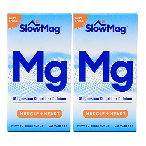 (SlowMag MG Muscle + Heart Magnesium Chloride with Calcium Tablets 60 Count (Pack of 2))