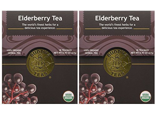 Organic Elderberry Tea - Caffeine Free - 18 Bleach Free Tea Bags (Pack of 2)