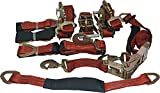 4 Axle Strap Tie Downs 24'' Long and 4 Ratchet Tow Straps Car Haulers - Red