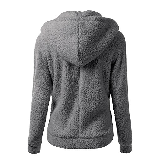 Warm DEELIN Zipper Gray Sweater Women Ladies Solid Cotton Sweatshirt Winter Coats Sale Clearance Outwear Coat Autumn Vintage Hooded Wool Coat wB7vSq