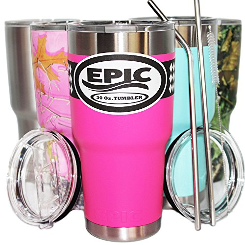 EPIC 30 oz Stainless Steel Travel Tumbler 6-Piece Set, Hot Pink Vacuum Insulated Cup - Thermal Large Coffee Mug - Compare to Yeti - Tumbler Cup Bundle with 2 Lids 2 Stainless Steel Straws 1 Brush