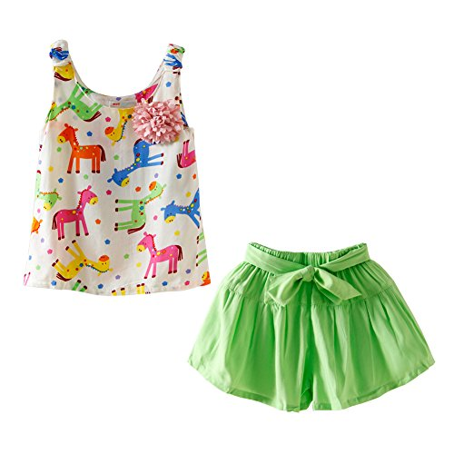 Mud Kingdom Bright Horse Flower Tank Tops and Shorts Girls' Clothes Sets 4T Green