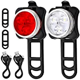Bicycle Headlight Taillight Combination, AFUNTA Rechargeable LED Bike Light Set with 4 Flashing Modes, 2 USB Cables and 4 Straps Included–White/Red