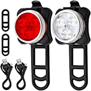 Bicycle Headlight Taillight Combination, AFUNTA Rechargeable LED Bike Light Set with 4 Flashing Modes, 2 USB C