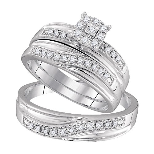 10kt White Gold His & Hers Round Diamond Solitaire Matching Bridal Wedding Ring Band Set 1/3 Cttw by JawaFashion