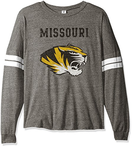 NCAA Missouri Tigers Betty Long Sleeve Tri-Blend Football Jersey T-Shirt, X-Large, Tri Grey/White