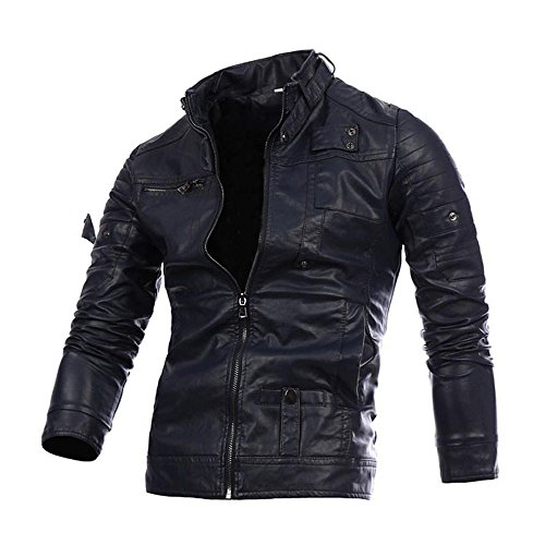 Preferential New Zlolia Men Leather Retro Jacket Autumn&Winter Biker Motorcycle Zipper Outwear Warm Coat Navy (Best Mens Hipster Clothing Websites)