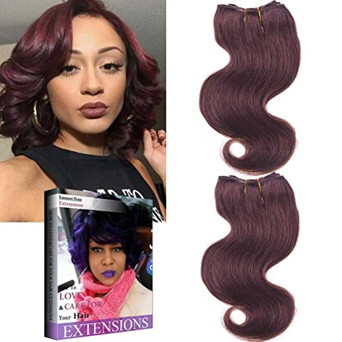 Emmet Brazilian Hair Extension Ombre Color Can be Dyed and Permed Body Wave Easy Installing&Sewing 8Inch Short 7A 100% Human Hair Weave 2PCS/Lot 50g/Piece, with Hair Care Ebook (99J#)