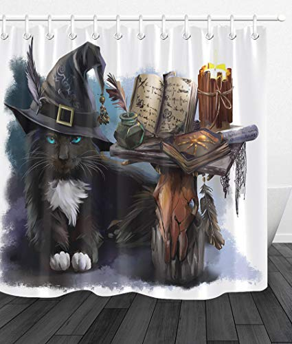 youyoutang Halloween Witch Black Cat Shower Curtain Waterproof