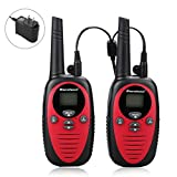22 Channel FRS GMRS Dual Band 2 Way Radio Long Range Up to 3000M/1.9MI Range (MAX 3.1M in Open Field) Excelvan UHF Handheld Walkie Talkie with 1-to-4 Branch Power Adapter (2 Pack, Red)