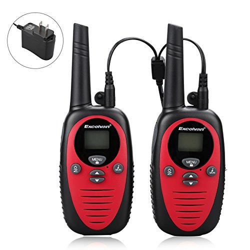 Power Package Red (22 Channel FRS GMRS Dual Band 2 Way Radio Long Range Up to 3000M/1.9MI Range (MAX 3.1M in Open Field) Excelvan UHF Handheld Walkie Talkie with 1-to-4 Branch Power Adapter (2 Pack, Red))