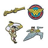 DC Comics Unisex Adult Wonder Woman Enamel Lapel Pin Set (4 Piece), Yellow/Red, One Size
