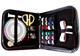 Sew Sewy - Sewing Kit 12 Spools of Thread 2x black & white Pins Self-Threading Needles, Scissors, Tape Measure, Thimble, Buttons, Safety Pins-Hems Seams Repairs-Beginners & Professionals Kids Adults Men - PU leather case Black - Travel Home Office