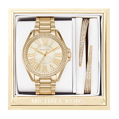 Michael Kors Women S Kacie Gold Tone Watch And Bracelet