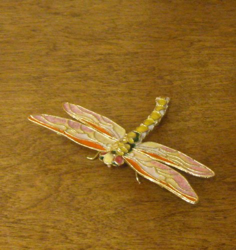 (Victorian Treasures Handcrafted Cloisonne using Faberge process, orange and cream Dragonfly )
