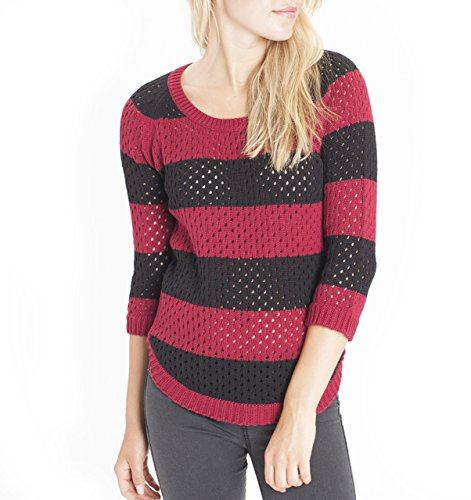 s' Stripe Open Weave Sweater (Large, Deep Rhubarb) (Juniors Open Weave)