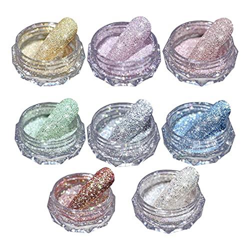 Keepfit 8 Colors Chrome Nail Powder - Holographic Nail Powder Metallic Mirror for Nails, Chrome Nail Mirror Effect Powder Pigment Dust Eyeshadow Metallic Mirror Nail Powder, Nail Art Decoration (A)