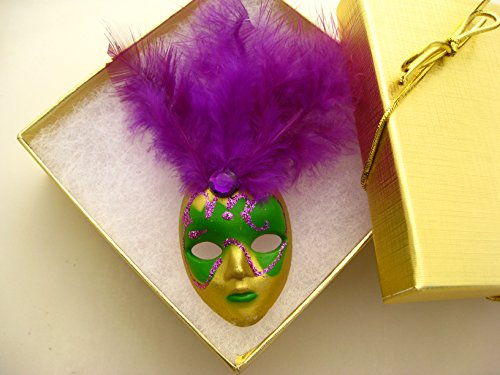 New Orleans Mardi Gras Feather Mask Pin Gift Party favor