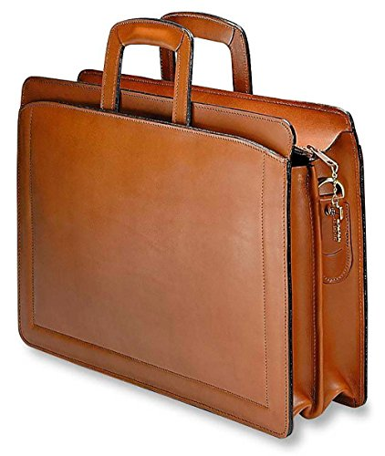 Collection Double Gusset Top Zip - [Personalized Initials Embossing]Jack Georges Belting Double Gusset Top Zip Leather Briefcase in Tan