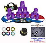 Speed Stacks Combo Set 'The Works'': 12 PURPLE 4'' Cups, Atomic Punch Gen 3 Mat, G4 Pro Timer, Cup Keeper, Stem, Gear Bag + Active Energy Necklace
